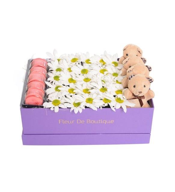 lila kutuda papatya ve peluş oyuncaklar